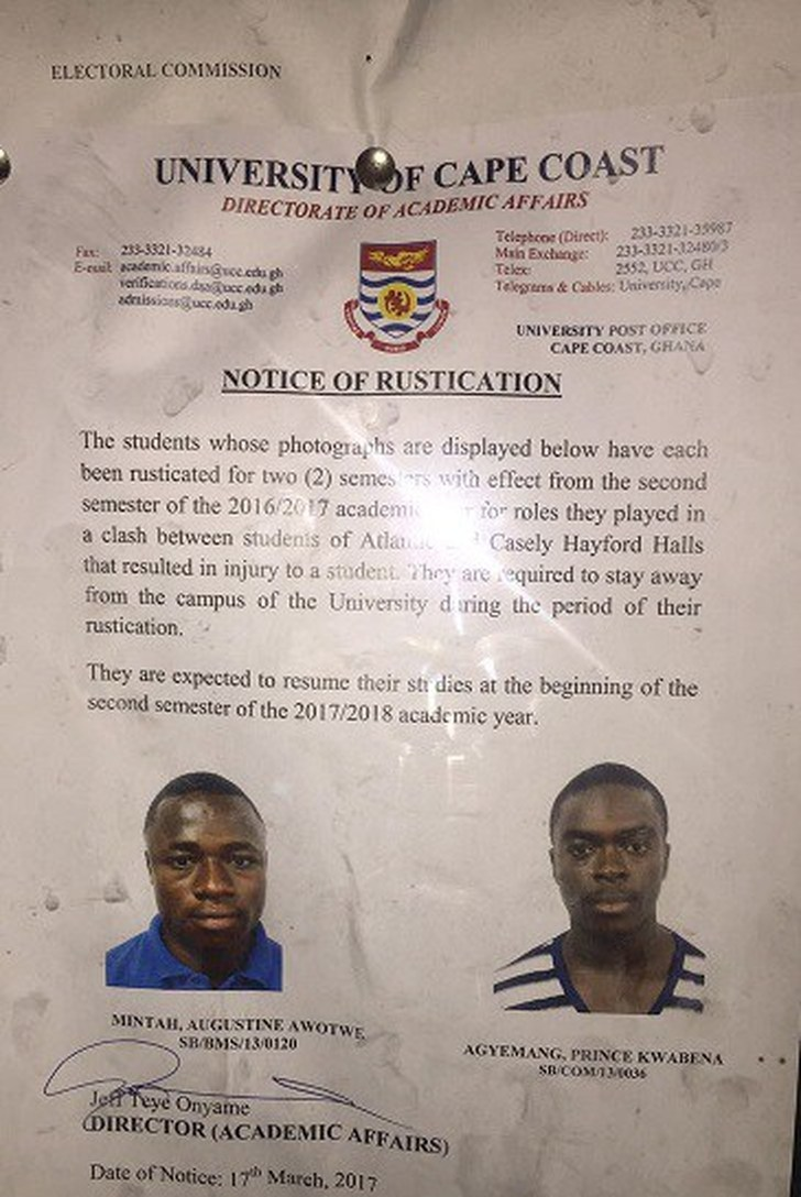 Picture, Two UCC students suspended for instigating bloody clash